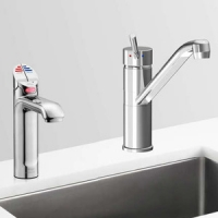 Zip HT1723UK HydroTap G4 Polished Chrome 4-In-1 Commercial Filtered Boiling, Chiiled Water Tap & Separate Hot/Cold Mixer Tap - Requires Cold Feed Only - Up To 160 Cups Per Hour 2.2kW W:450mm x D:470mm x H:335mm