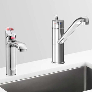 Zip HT1738UK HydroTap G4 Polished Chrome 3-In-1 Commercial Filtered Boiling Water Tap & Separate Hot/Cold Mixer Tap - Requires C